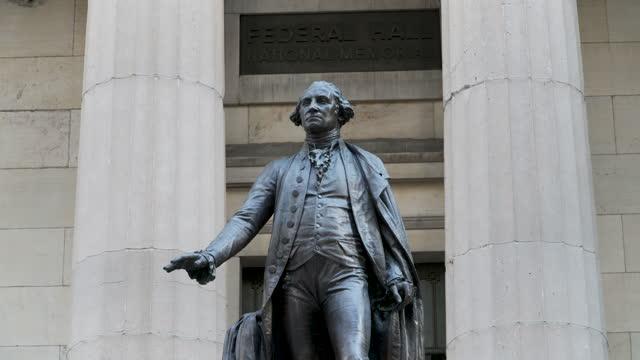 george washington statue - wall street - george washington stock videos & royalty-free footage