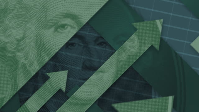 george washington's face from u.s. dollar - arrow symbol stock-videos und b-roll-filmmaterial