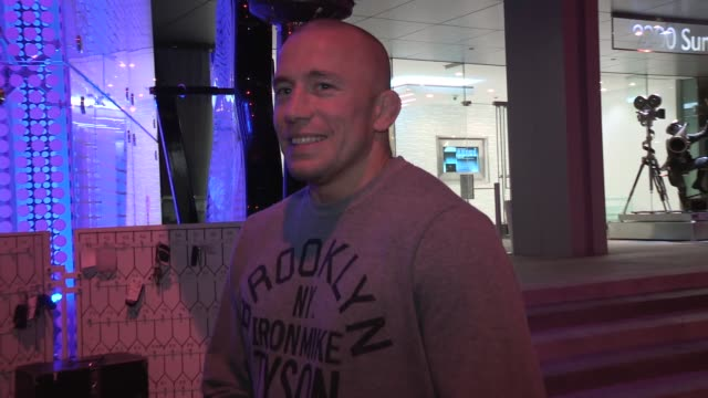 georges st pierre on swedish women working with chris evans on captain america winter soldier at boa in west hollywood at celebrity sightings in los... - avvistamenti vip video stock e b–roll