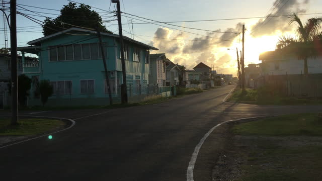 georgetown, guyana streets during sunset. travel destination - guyana stock videos & royalty-free footage