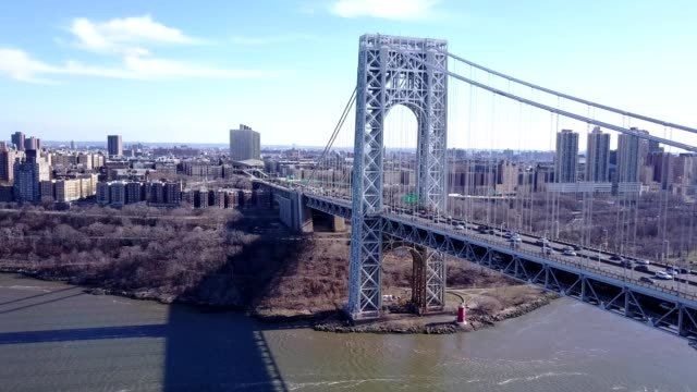 stockvideo's en b-roll-footage met george-washington-bridge north-west to south-east - new jersey
