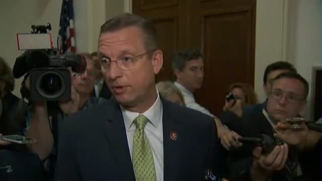 Georgia Congressman Doug Collins tells press outside of a closed door House Judiciary Committee interview with former Trump communications advisor...