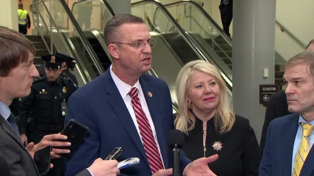 georgia congressman doug collins tells reporters at a press stakeout after president donald trump was acquitted at a senate impeachment trial that... - lowering stock videos & royalty-free footage