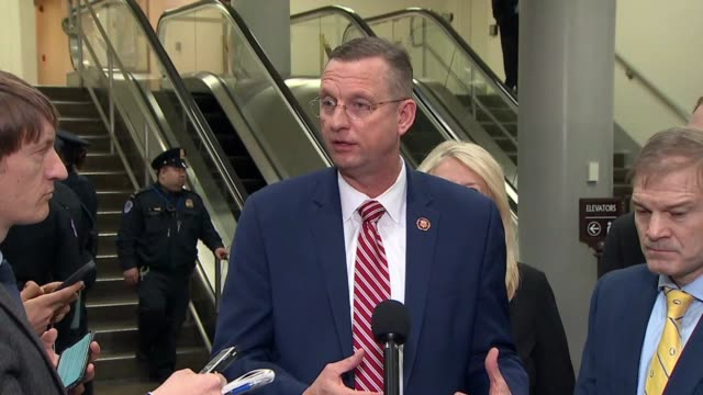 georgia congressman doug collins tells reporters at a press stakeout after president donald trump was acquitted at a senate impeachment trial that... - partisan politics stock videos & royalty-free footage