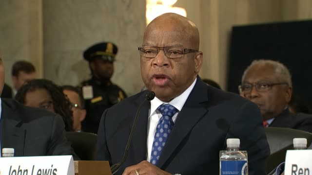 Georgia Congressman John Lewis tells members of the Senate Judiciary Committee on the second day in a hearing on the nomination of Senator Jeff...