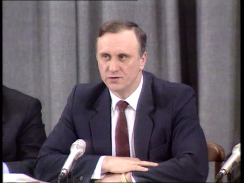 conflict/ politics georgia fighting/ soviet breakup int 2 shot williams chatting to plekhanov cms sergei plekhanov intvw sof isolation is difficult/... - polyethylene stock videos and b-roll footage