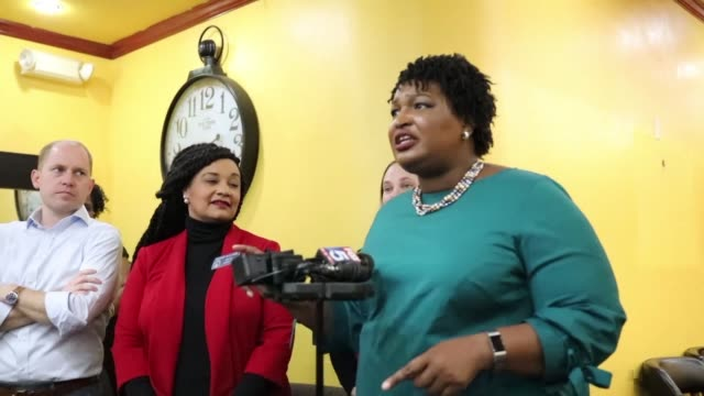 georgia gubernatorial hopeful stacey abrams campaigns in east point as she bids to become the first black woman ever elected as governor of a us state - georgia us state stock videos & royalty-free footage