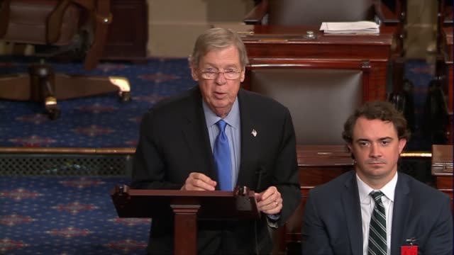 Georgia Senator Johnny Isakson engages in the debate over Judge Neil Gorsuch after the nuclear option on Supreme Court nominees was invoked praising...