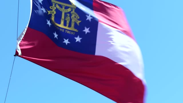 georgia state flag waving in the breeze - georgia us state stock videos & royalty-free footage