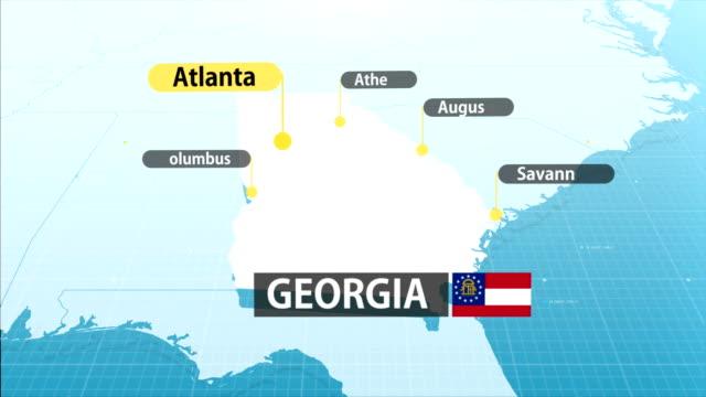 stockvideo's en b-roll-footage met georgia state kaart - georgia us state