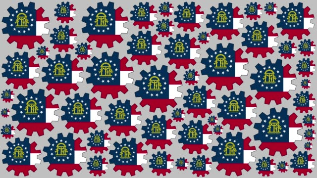 georgia us state flag gears spinning background - georgia us state stock videos & royalty-free footage