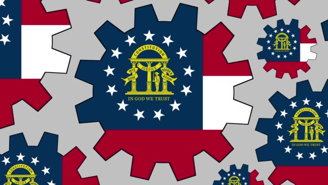 georgia us state flag gears spinning background zooming out - georgia us state stock videos & royalty-free footage