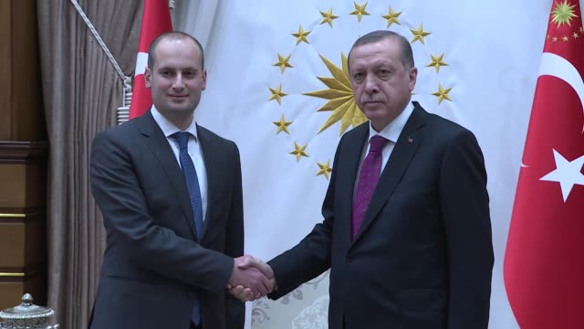 Georgian Foreign Minister Mikheil Janelidze is received by Turkish President Recep Tayyip Erdogan at the presidential complex in Ankara Turkey on...