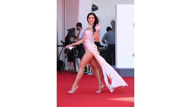gif georgina rodriguez walks the red carpet ahead of the movie the human voice at the 77th venice film festival on september 3 2020 in venice italy - gif stock videos & royalty-free footage