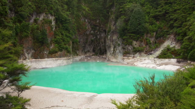 geothermal crater lake - north island new zealand stock videos & royalty-free footage