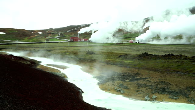 Geothermal plant and steam in central Iceland