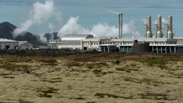 geothermal power station svartsengi in the blue lagoon iceland - chimney stock videos and b-roll footage