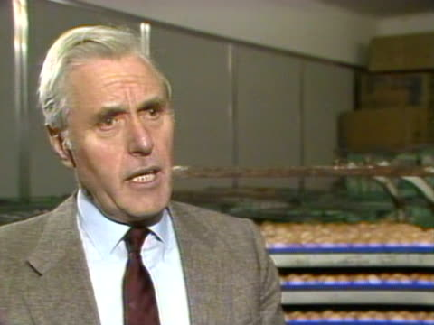 gerald benson, an egg farmer, talks about suing the governement over the salmonella egg controversy. 1988. - salmonella video stock e b–roll