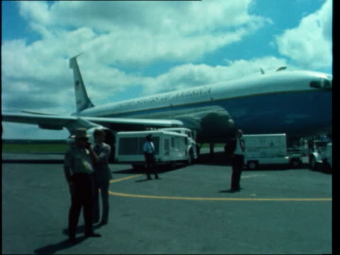 North Carolina Raleigh MS Gerald Ford LR security CMS Ford surrounded by security BV Security guard on rooftop MS Car men MS Plane Pan car CS / Side...