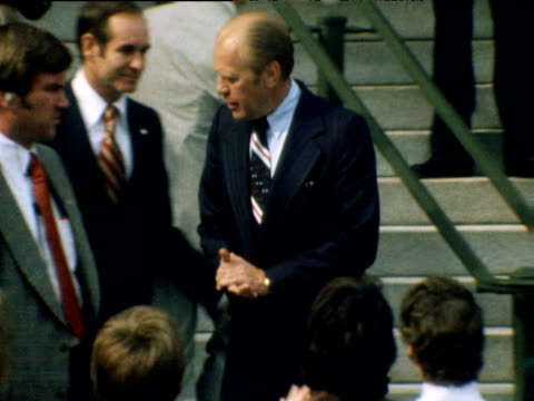 gerald ford waves to crowd on day he became president after nixon's resignation over watergate scandal washington dc 09 aug 74 - us president stock videos and b-roll footage