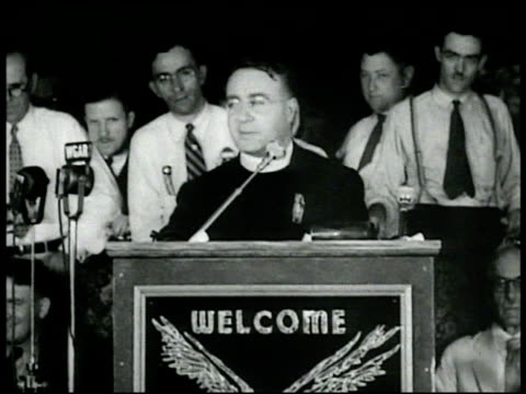 exposure gerald smith father coughlin dr francis e townsend on stage together each taking turn at podium gerald smith sweating profusely ranting... - anti communism stock videos & royalty-free footage