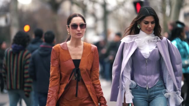 Geraldine Boublil and Asena Saribatur are seen outside Altuzarra during Paris Fashion Week Womenswear Fall/Winter 2019/2020 on March 02 2019 in Paris...