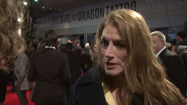 geraldine james on how she prepared her role the script experiencing sweden at the girl with the dragon tattoo world premiere at odeon leicester... - the girl with the dragon tattoo stock videos and b-roll footage