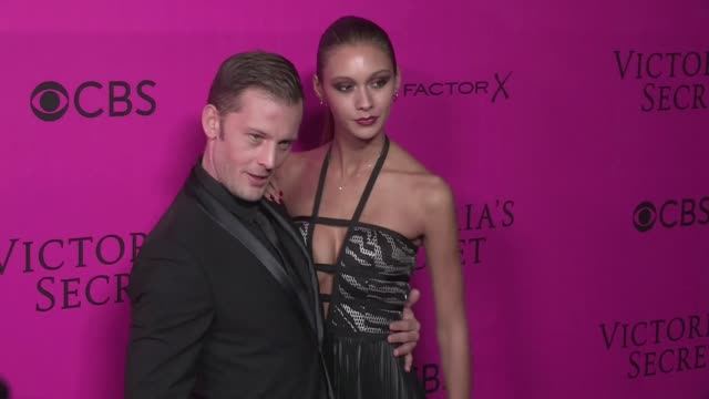 Geraldine Nakache Actor Nicolas Duvauchelle and his wife Anouchka Deborah Hung and more on the Pink Carpet of the Victoria's Secret Fashion Show 2016...