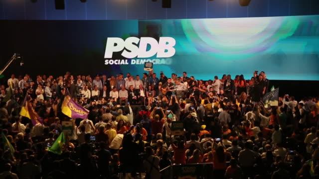 vídeos de stock e filmes b-roll de geraldo alckmin presidential candidate for the brazilian social democracy party speaks during the convention at brazilian international convention... - política e governo