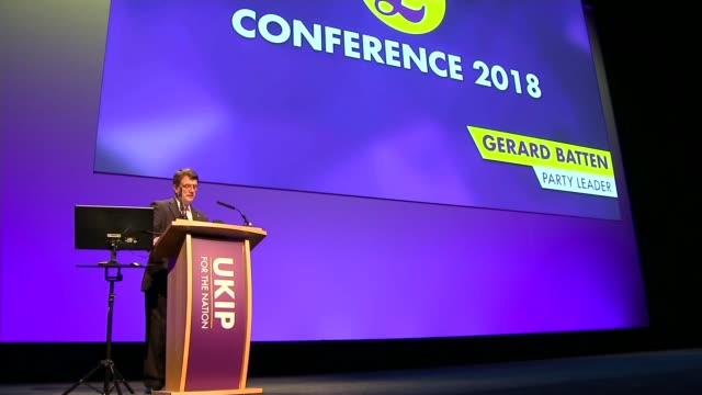 gerard batten says ukip should become a 'radical populist party' uk birmingham gerard batten at ukip party conference birmingham international... - 英国独立党点の映像素材/bロール