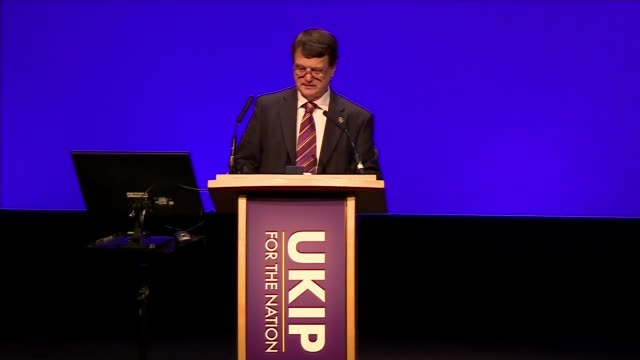 gerard batten says ukip should become a 'radical populist party' england west midlands birmingham int gerard batten mep speech sot - 英国独立党点の映像素材/bロール