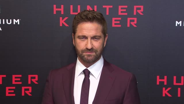 Gerard Butler and cast at 'Hunter Killer' New York Premiere at Intrepid SeaAirSpace Museum on October 22 2018 in New York City