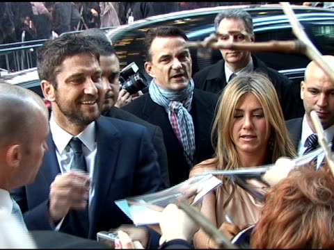 Gerard Butler and Jennifer Aniston at the New York premiere of 'The Bounty Hunter' at the Celebrity Sightings in New York at New York NY