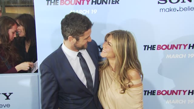 Gerard Butler and Jennifer Aniston at the 'The Bounty Hunter' Gala Premiere Red Carpet Arrivals at New York NY