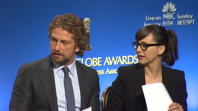 Gerard Butler and Rashida Jones at The 69th Annual Golden Globe Awards Nominations in Beverly Hills