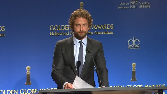 gerard butler announces the 18th annual screen actors guild awards nominations in west hollywood - nomination stock videos & royalty-free footage
