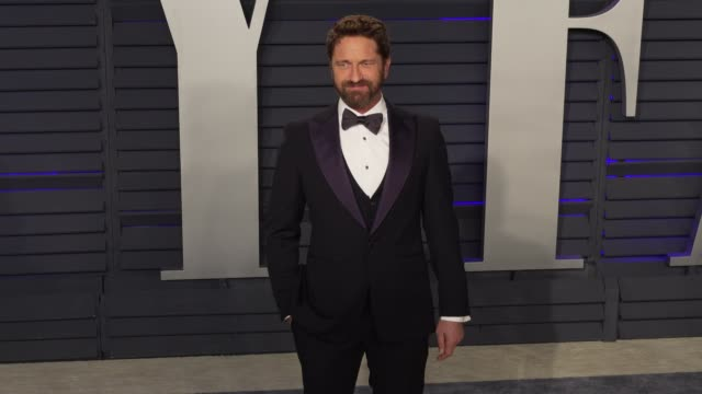 gerard butler at 2019 vanity fair oscar party hosted by radhika jones at wallis annenberg center for the performing arts on february 24, 2019 in... - vanity fair oscar party stock videos & royalty-free footage