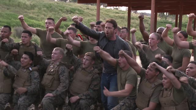 CLEAN Gerard Butler at 'London Has Fallen' Military Premiere At Camp Pendleton at Camp Pendleton on February 26 2016 in Oceanside California