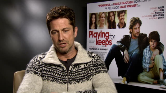 Gerard Butler interview for 'Playing for Keeps' ENGLAND London INT Gerard Butler interview SOT
