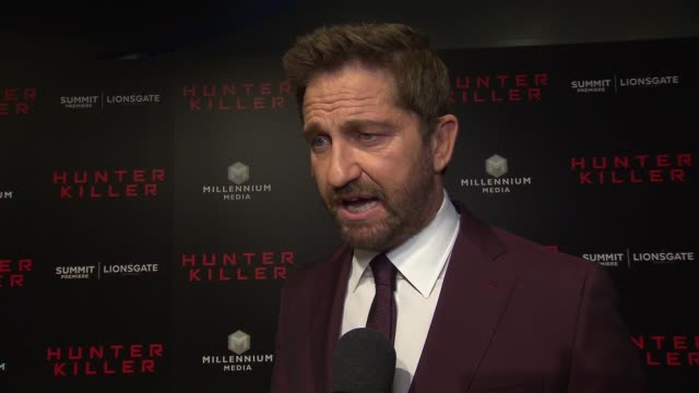 INTERVIEW Gerard Butler on his new film and bringing back the submarine genre at 'Hunter Killer' New York Premiere at Intrepid SeaAirSpace Museum on...