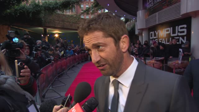 INTERVIEW Gerard Butler on his relationship what he likes in a women at 'Olympus Has Fallen' UK Premiere at BFI IMAX on April 03 2013 in London...