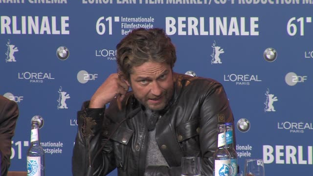 Gerard Butler on shooting in Serbia enjoying masculine roles working on romanic comedies playing physical rolesat the Coriolanus Press Conference