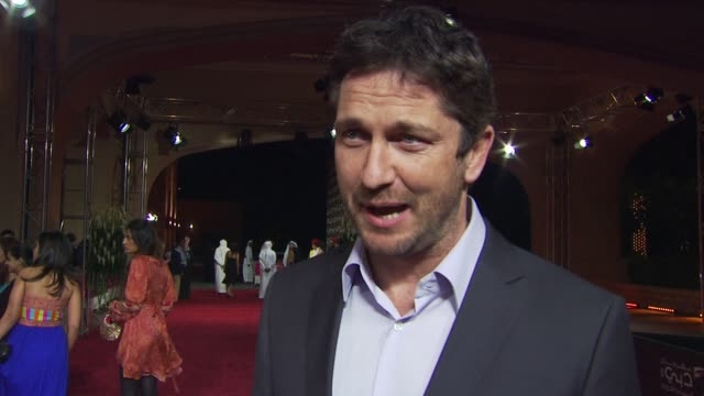 Gerard Butler on that he's been awarded today and what he's done today and how he gets nervous before press conferences and how fun everything's been...