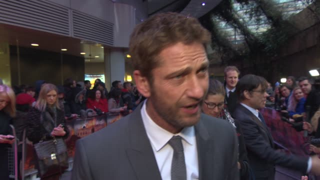INTERVIEW Gerard Butler on what audiences can expect the reactions his acting career taking breaks at 'Olympus Has Fallen' UK Premiere at BFI IMAX on...