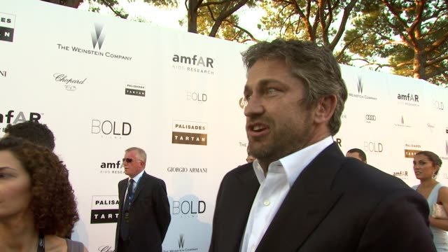 Gerard Butler on what it is amfAR do and how he's there to support them at the amfAR Cinema Against AIDS Gala at Antibes