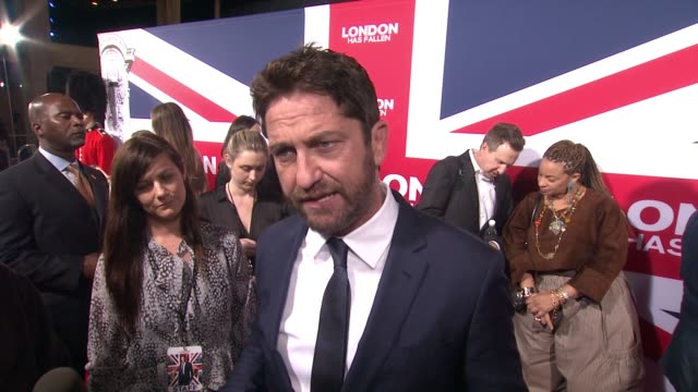 vídeos y material grabado en eventos de stock de interview gerard butler on why the scale of this movie is bigger than before the most exciting scenes for him to film and how director babak najafi... - cinerama dome hollywood
