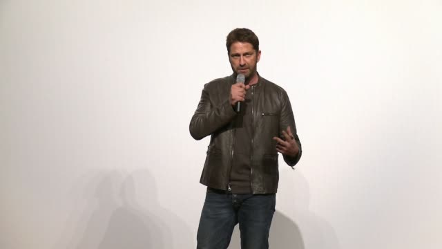 SPEECH Gerard Butler speaks to troops attending the premiere about the movie being about heroism at 'London Has Fallen' Military Premiere At Camp...