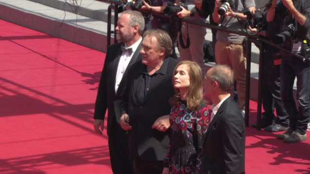 Gerard Depardieu Guillaume Nicloux Isabelle Huppert Dan Warner at 'Valley Of Love' Premiere during the 68th annual Cannes Film Festival on May 22...