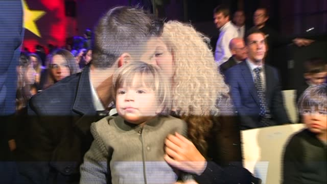 gerard piqué with his family is given a prize as the best football player from barcelona at league 201516 - shakira stock videos & royalty-free footage