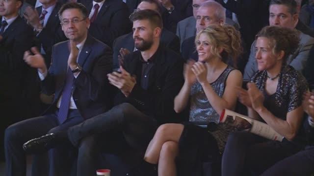 gerard pique and shakira attend the 'festa de esport catala 2016 awards' - shakira stock videos & royalty-free footage